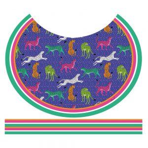 Tecido Crepe Georgete Estampa Doncella Pareô Circular Felinos Azul Bic