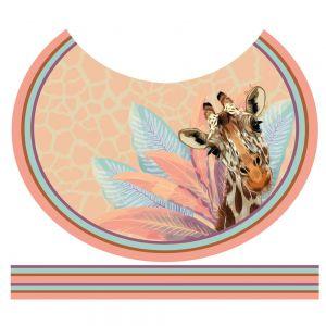 Tecido Crepe Georgete Estampa Doncella Pareô Circular Girafa Cor Tangerina