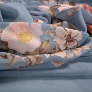 Tecido Crepe Georgete Estampa Floral Azul Serenity Escuro
