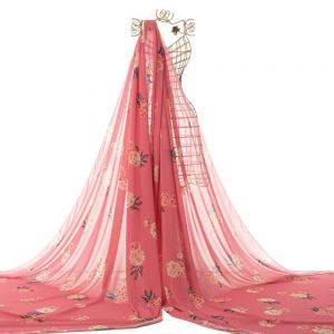 Tecido Crepe Georgete Estampa Floral Cor de Rosa Escuro