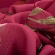 Tecido Crepe Georgete Estampa Floral Fúcsia Escuro