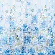 Tecido Crepe Georgete Estampa Floral Doncella Barrado Azul