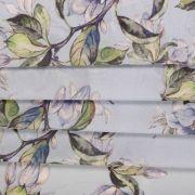 Tecido Crepe Georgete Estampa Floral Lilás Azulado