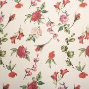 Tecido Crepe Georgete Estampa Floral Off White