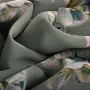Tecido Crepe Georgete Estampa Floral Verde Militar
