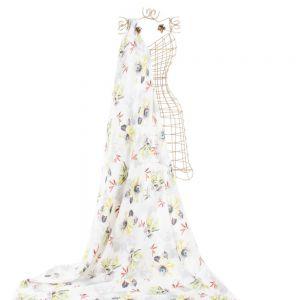 Tecido Crepe Georgete Pesado Estampa Floral Branco