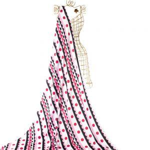 Tecido Crepe Light Estampa Doncella Listras e Poá Rosa Pink