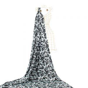 Tecido Crepe Moss Estampa Floral Branco e Preto