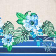 Tecido Crepe Span Estampa Barrado Folhagem Azul