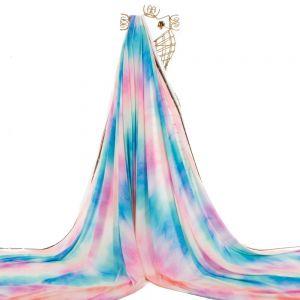 Tecido Crepe Toque de Pêssego Tie Dye