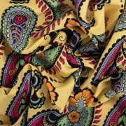 Tecido Crepe Trama de Linho Pesado Estampa Paisley Amarelo