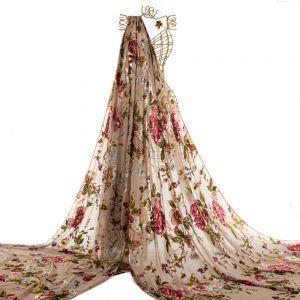 Tecido Devoré de Seda Estampa Floral Bege