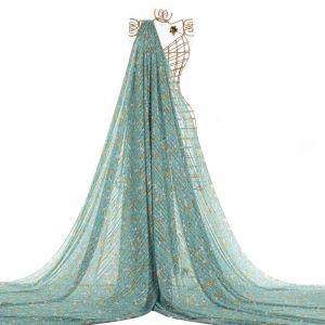 Tecido Musseline Devoré Listrado Azul Tiffany Queimado Estampa Liberty