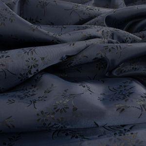 Tecido Failete Jacquard Floral Azul Marinho