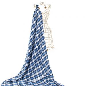 Tecido Flanela Carcha Xadrez Azul e Branco