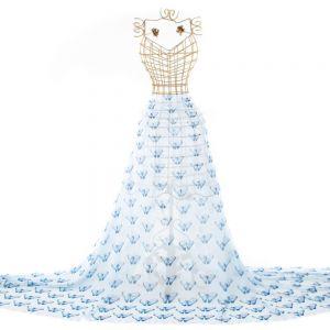 Tecido Georgete Estampa Doncella Borboleta Azul