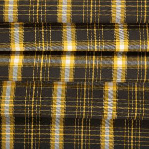 Tecido Lã Leve Xadrez Span Amarelo e Preto