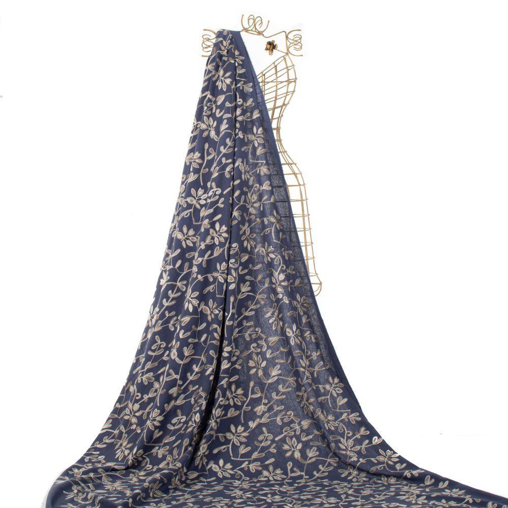 Tecido Linho Bordado Arabesco Azul Denim Escuro