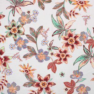 Tecido Linho Misto Estampa Floral Off White