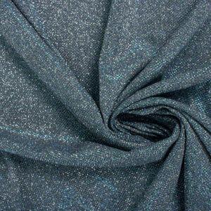 Tecido Malha Glitter Verde e Azul com Prata