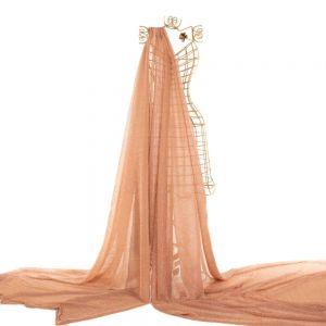 Tecido Lurex Plissado Rosa Nude com Fios Cobre