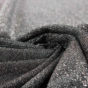 Tecido Malha Glitter Preto com Prata