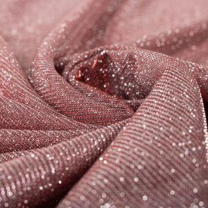 Tecido Malha Glitter Vermelho com Prata