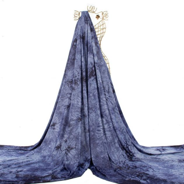 Tecido Malha Moletinho Tie Dye Azul Noite
