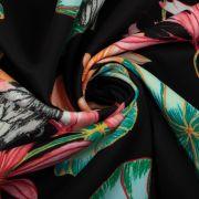 Tecido Malha Neoprene Floral Preto