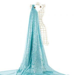 Tecido Micro Paetê em Tule Azul Tiffany