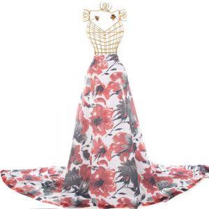 Tecido Micro Paetê Estampa Maxi Floral Vermelho e Branco