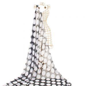 Tecido Musseline Dior Preto Estampa Doncella Maxi Poá