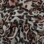 Tecido Musseline Estampa Animal Print Onça Fundo Branco