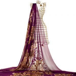 Tecido Musseline Estampa Floral Violeta