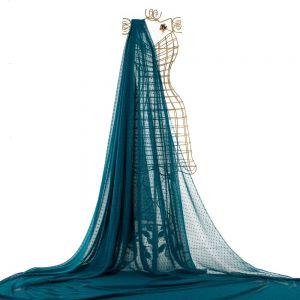Tecido Musseline Point Sprit Azul Petróleo