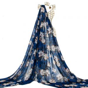 Tecido Musseline Toque de Seda Estampa Floral Azul Royal