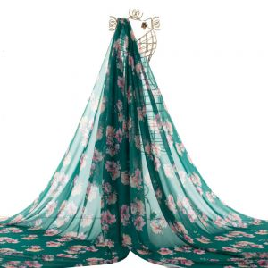 Tecido Musseline Toque de Seda Estampa Floral Verde Garrafa