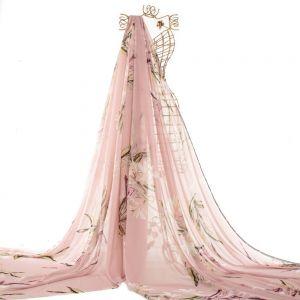 Tecido Musseline Toque de Seda Estampa Maxi Floral Rosa Quartzo