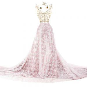Tecido Organza Estampa Floral Cor de Rosa Glitter