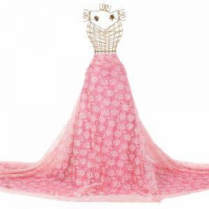 Tecido Organza Estampa Floral Coral Rosado Glitter