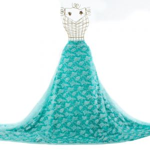 Tecido Organza Estampa Floral Verde Tiffany Glitter