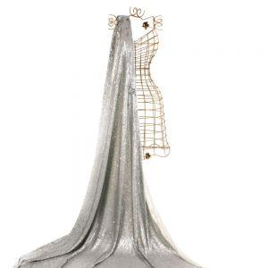 Tecido Paetê Reversível em Tule Cinza e Prata