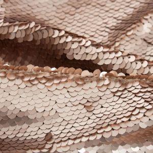 Tecido Paetê Reversível em Tule Rosé Gold
