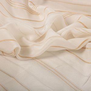Tecido Palha de Seda Pura Listrada Off White