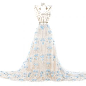 Tecido Renda 3D Bordada com Pedraria Floral Azul