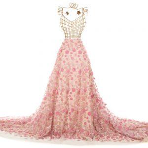 Tecido Renda 3D Floral Rosa Blush