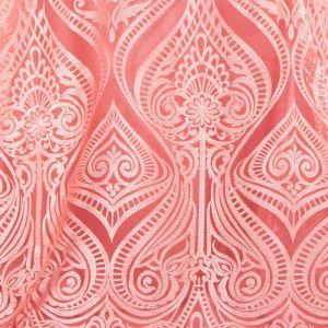 Tecido Renda Bordada com Fios Acetinados Coral Rosado
