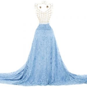 Tecido Renda Bordada com Fios Acetinados e Pedrarias Azul Serenity