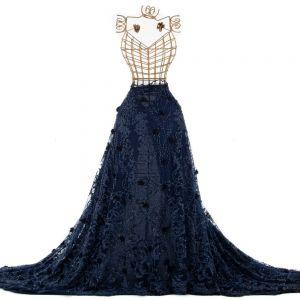 Tecido Renda Bordada com Pedrarias 3D Azul Marinho