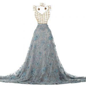 Tecido Renda Bordada com Pedrarias 3D Azul Serenity